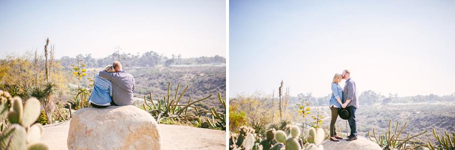 beautiful engaged couple poses in the Balboa Park Desert Garden