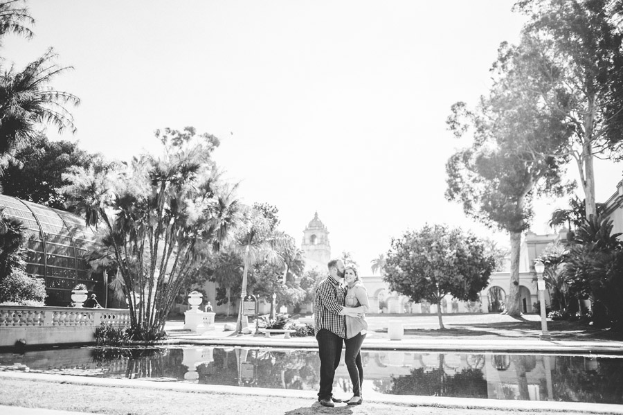 Engagement photo at the reflecting pool in Balboa Park