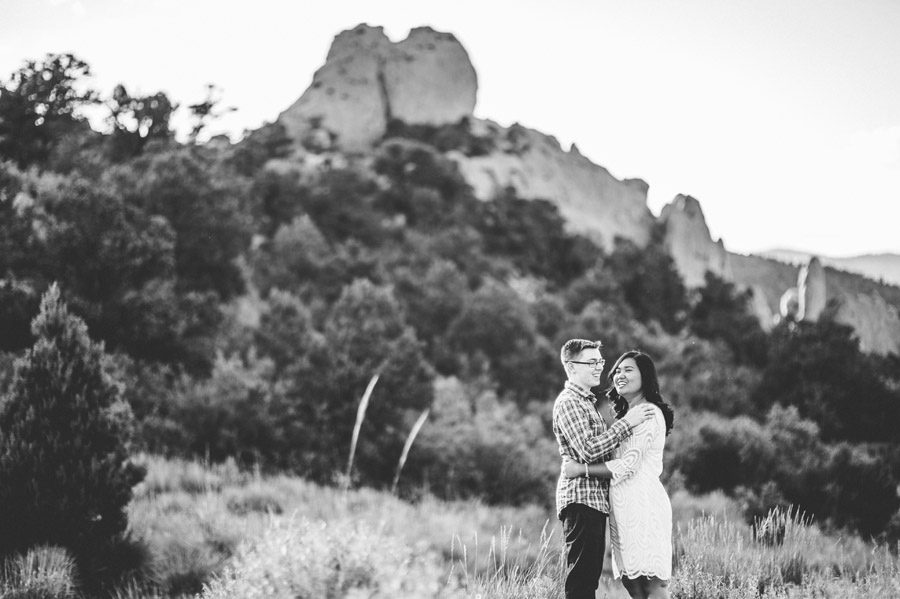 beautiful black and white engagement photos from Garden of the Gods in Colorado