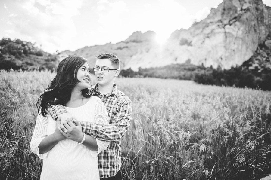 gorgeous black and white engagement photo at sunset in Garden of the Gods