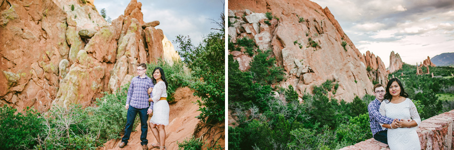 Engagement photos near rock formations in garden of the gods