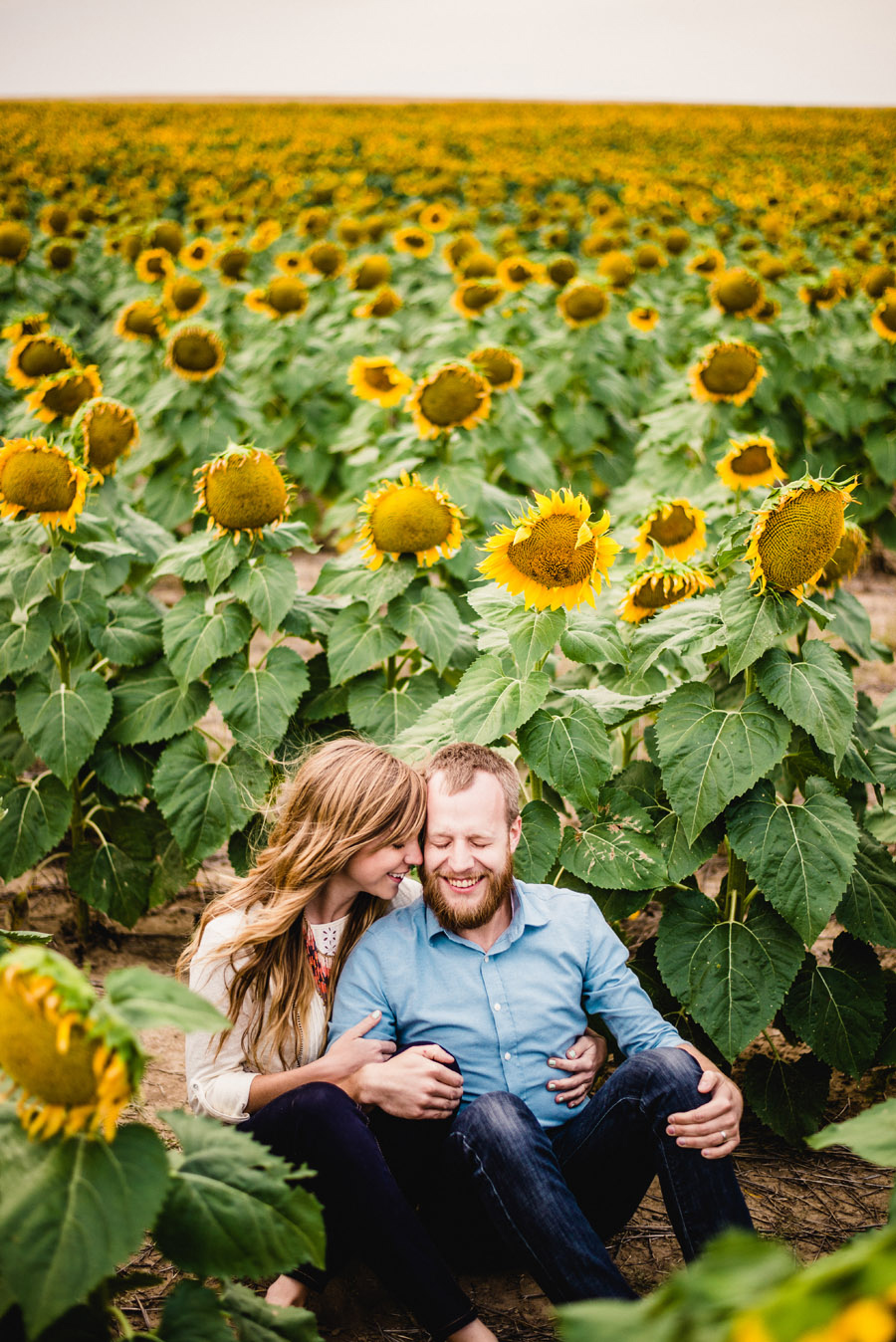 First anniversary portraits for a couple in Denver among giant sunflower field
