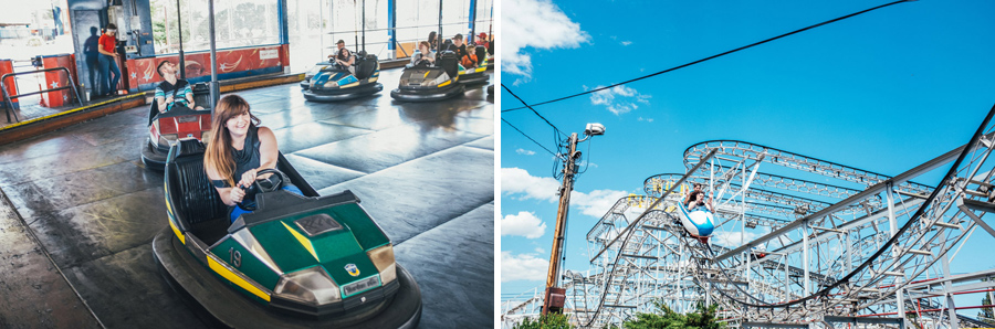 engaged couple enjoying roller coaster and bumper cars at lakeside amusement park