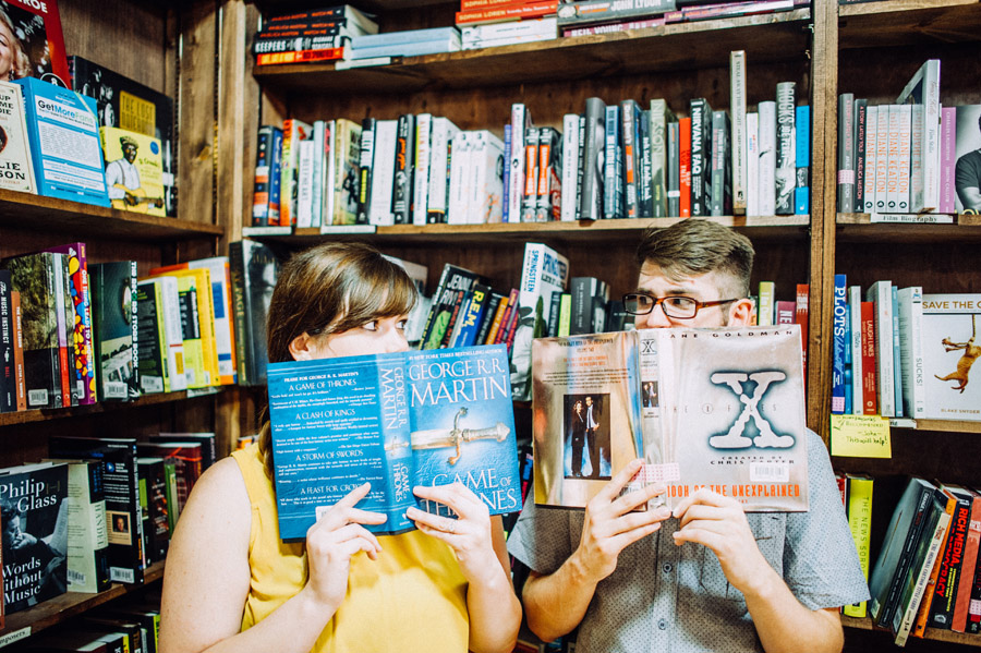 engagement photos in the tattered cover bookstore in denver