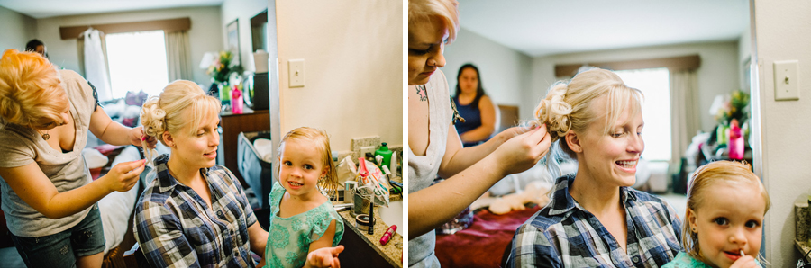 bride and flower girl getting ready before wedding in genesee colorado