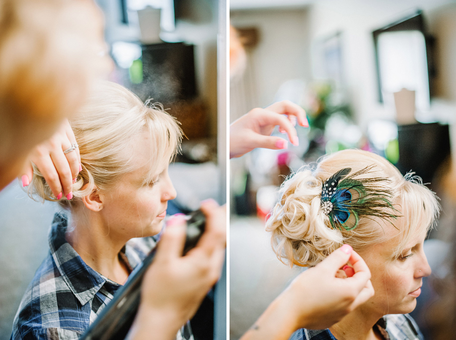 bride gets hair done before wedding in genesee colorado