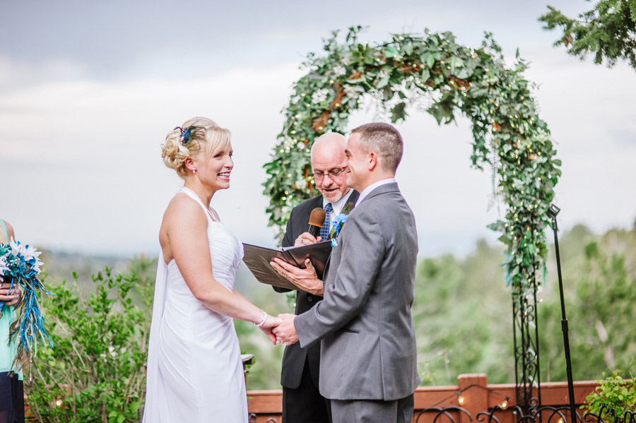 bride smiling during colorado wedding