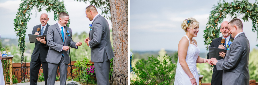 bride and groom exchange rings in genesee colorado