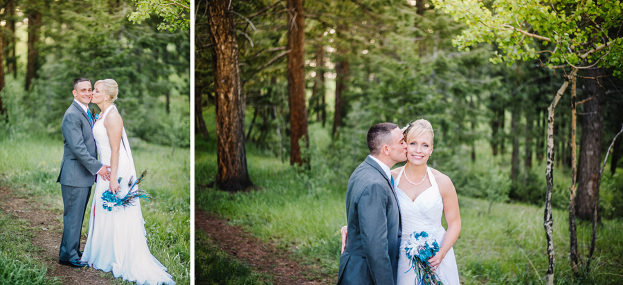 bride and groom portraits among trees in genesee colorado