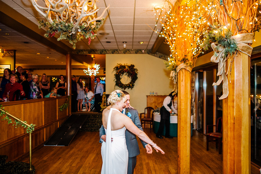 bride and groom dancing in colorado