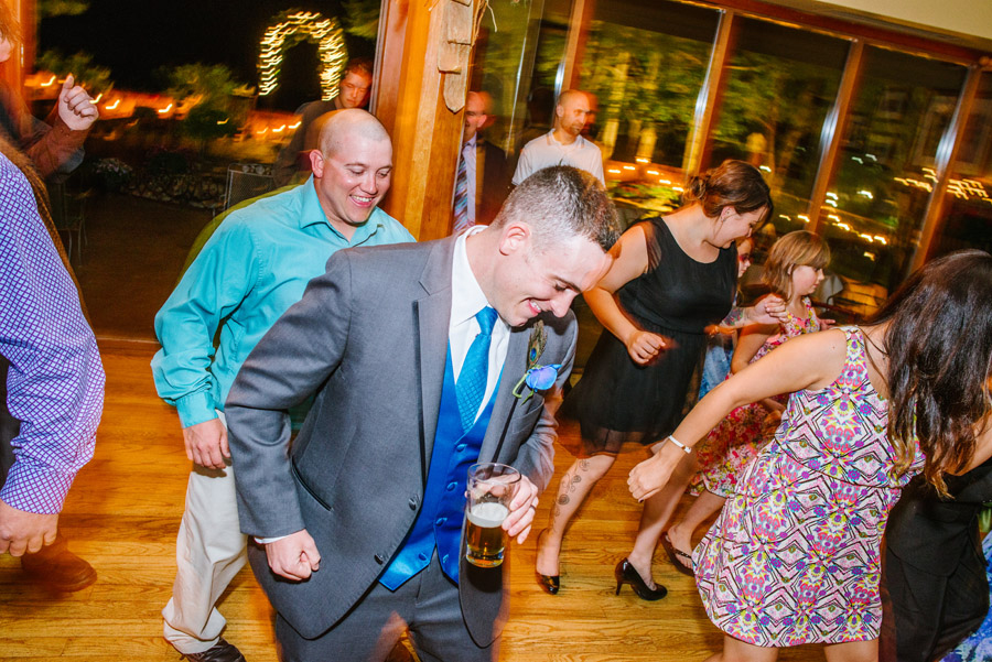 groom dancing at wedding in genesee colorado