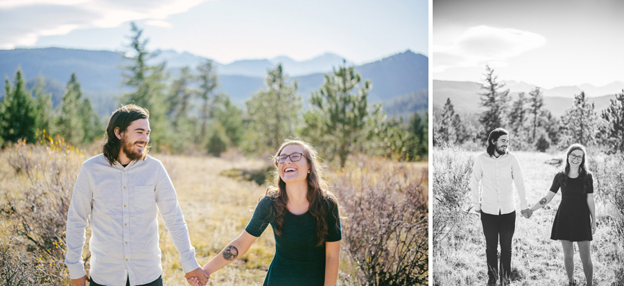 Couple posing for engagement photos in Hermit Park near Estes Park Colorado