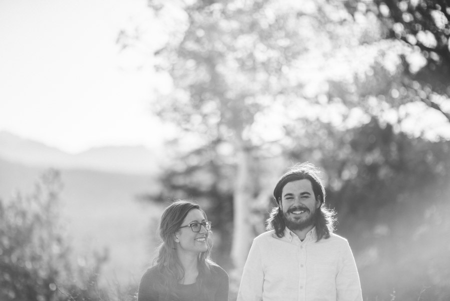 black and white engagement photo in estes park