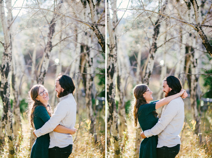 beautiful engagement photo among aspen trees near Estes Park