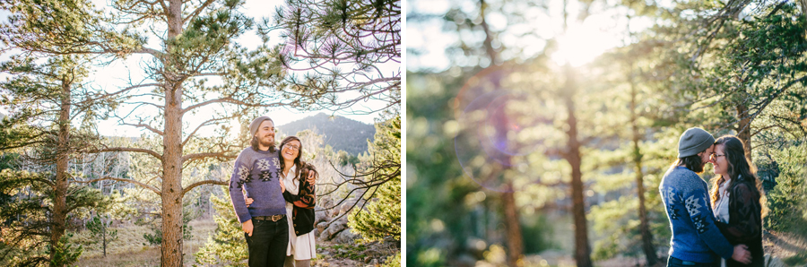 beautiful couple posing in hermit park for engagement photos