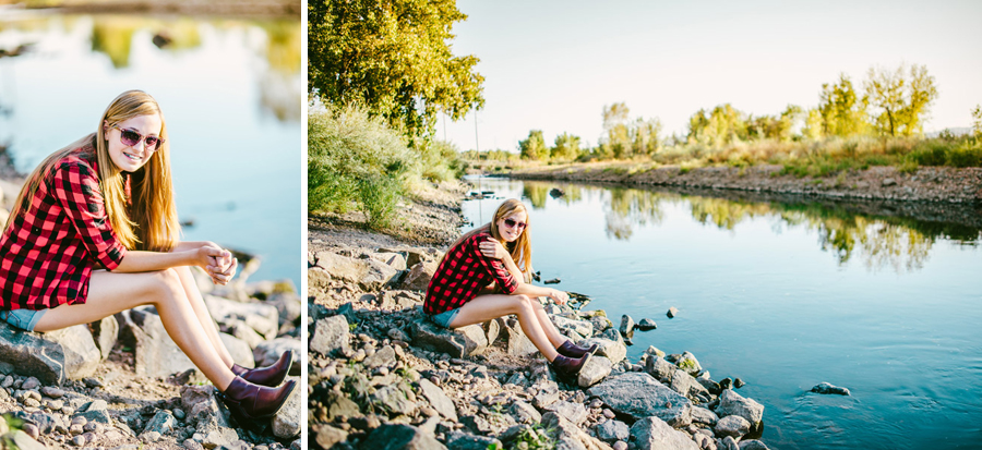 Girl poses for Senior Photos on the bank of the platte river in Denver
