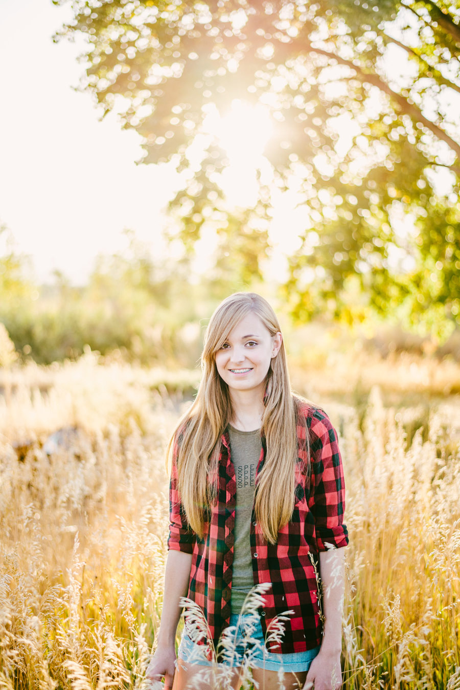 Golden hour senior photos near platte river in denver