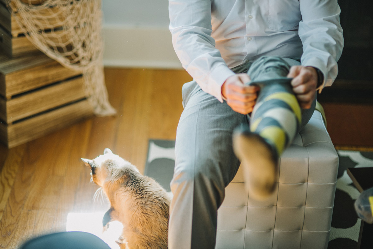 groom putting socks on next to cat before wedding in omaha