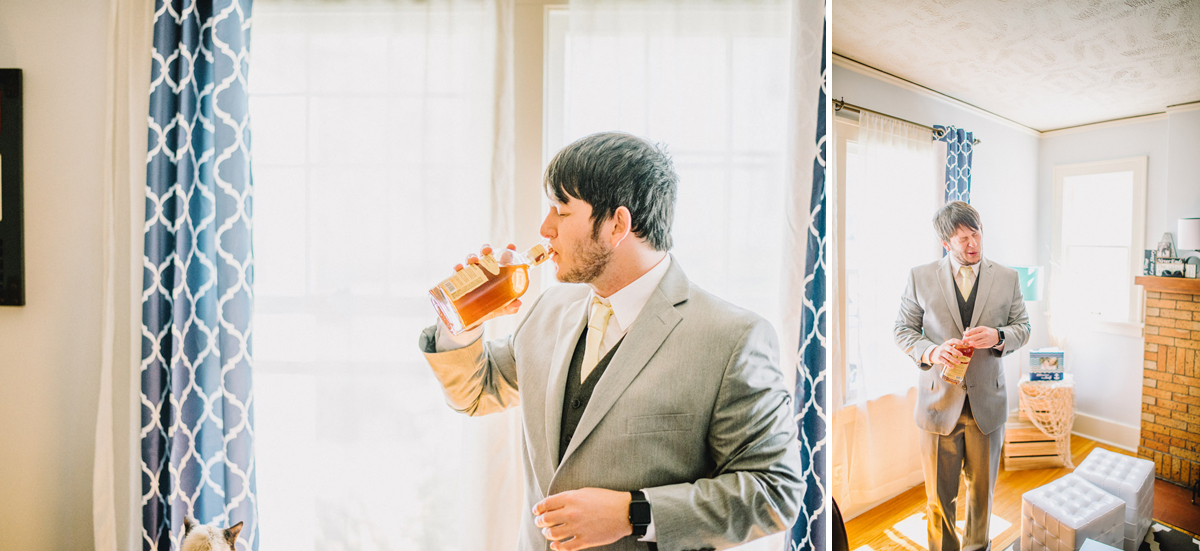 groom takes drink of whiskey before wedding with reaction face