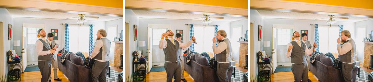 groomsmen watching iowa hawkeyes game before wedding