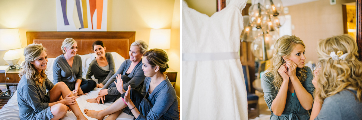 bridal party chatting before getting dress in omaha