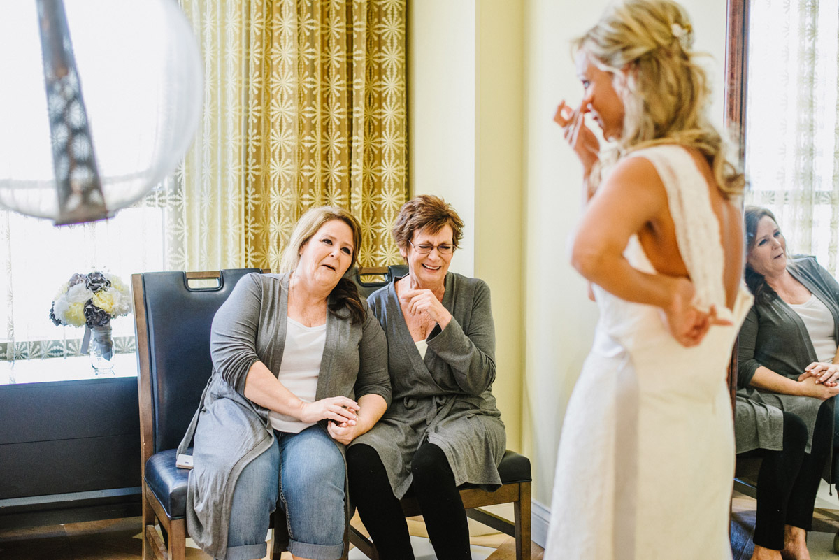 bride is brought to tears after mother sees her for the first time before wedding