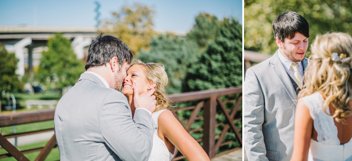 bride and groom embrace during first look