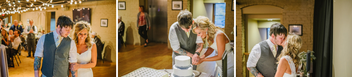 bride and groom cut the cake at the old mattress factory