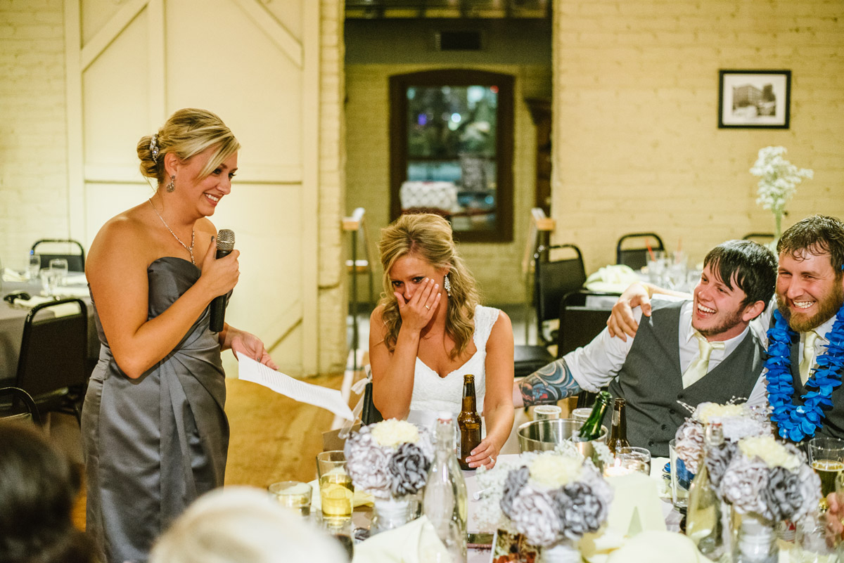 maid of honor giving a toast at the old mattress factory