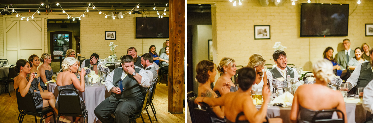 best man giving a toast and everyone is laughing old mattress factory wedding