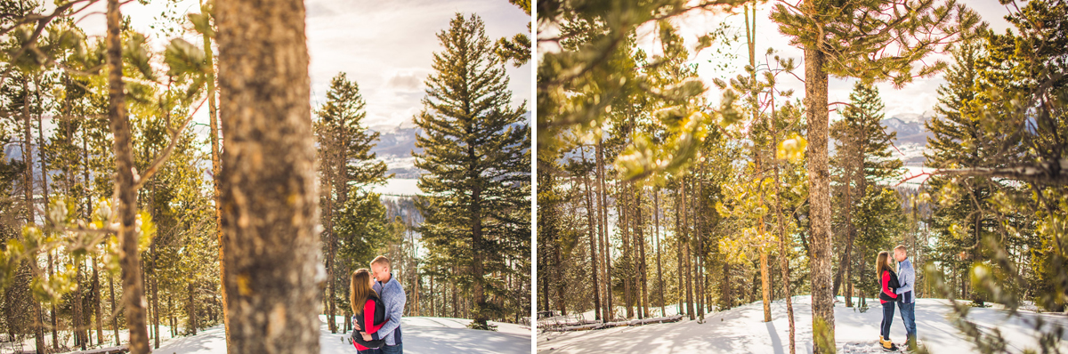 winter engagement photos in keystone