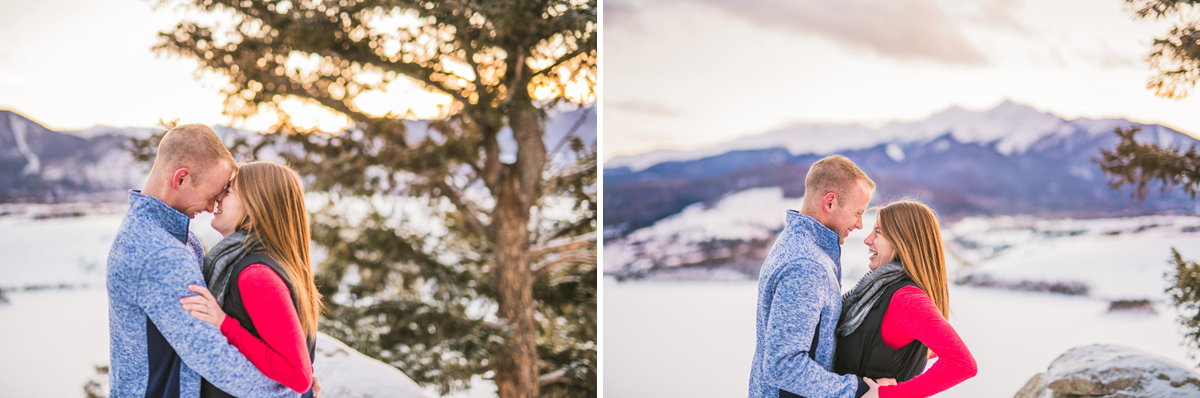 sunset engagement photos at Saphire Point in Keystone