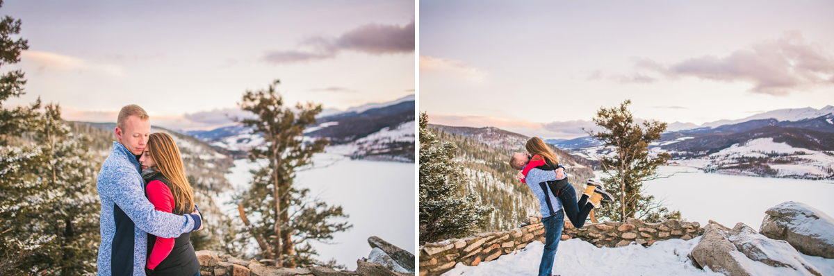 Winter sunset engagement photos in colorado