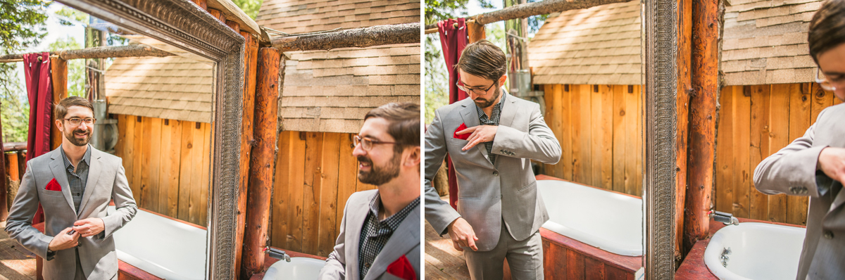 groom fixing his pocket square in mendocino