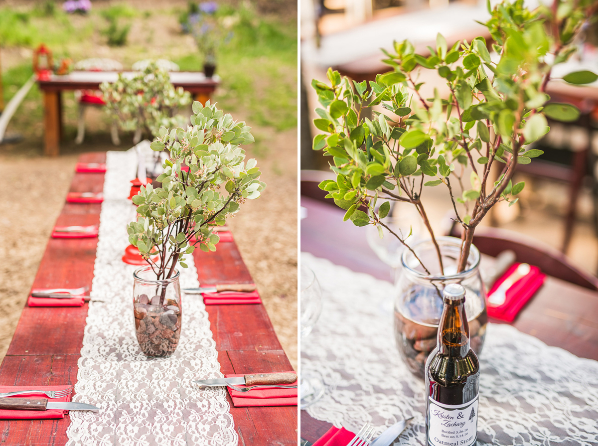 wedding centerpieces at precious forest