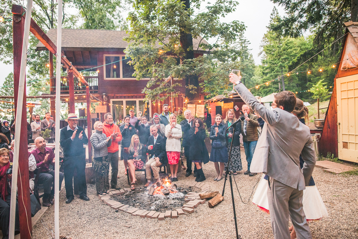 bride and groom perform thank you toast at wedding in mendocino
