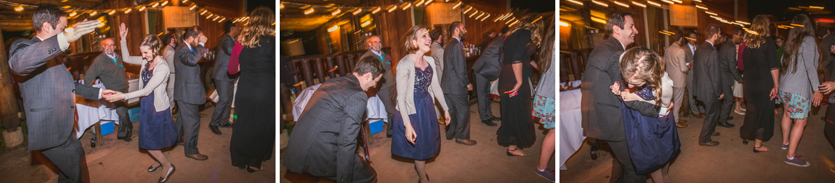 wedding guests laughing while dancing