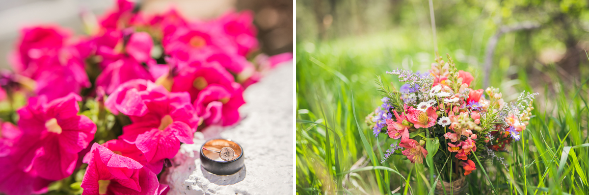 ring and boquet from a wedding in estes park colorado