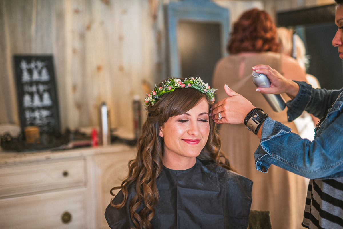 boho bride fliower crown in estes park colorado