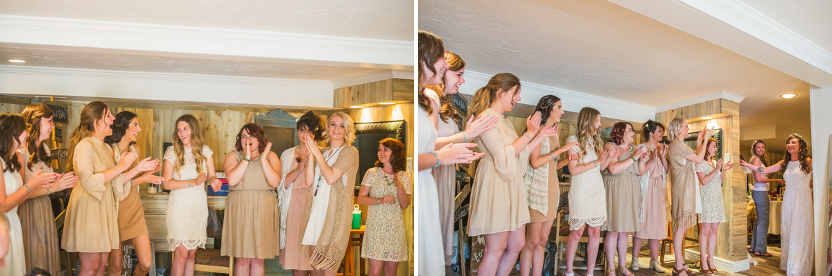 dress reveal to bridesmaids in estes park