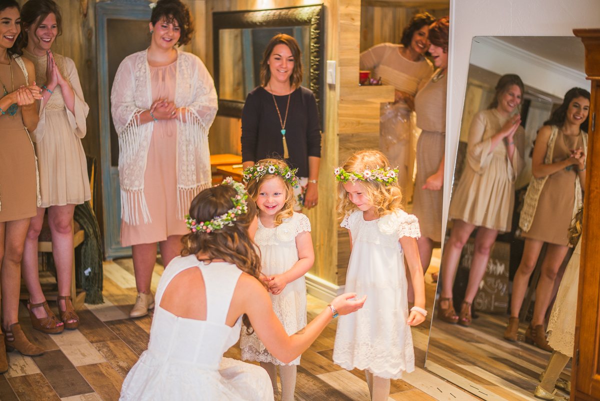 bride and flower girls in estes park