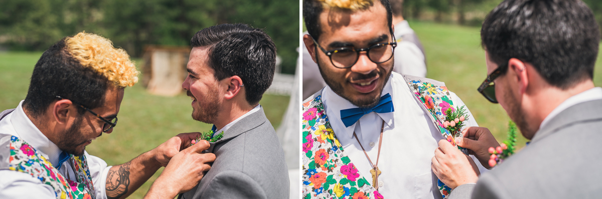 groomsman helps groom finish getting ready