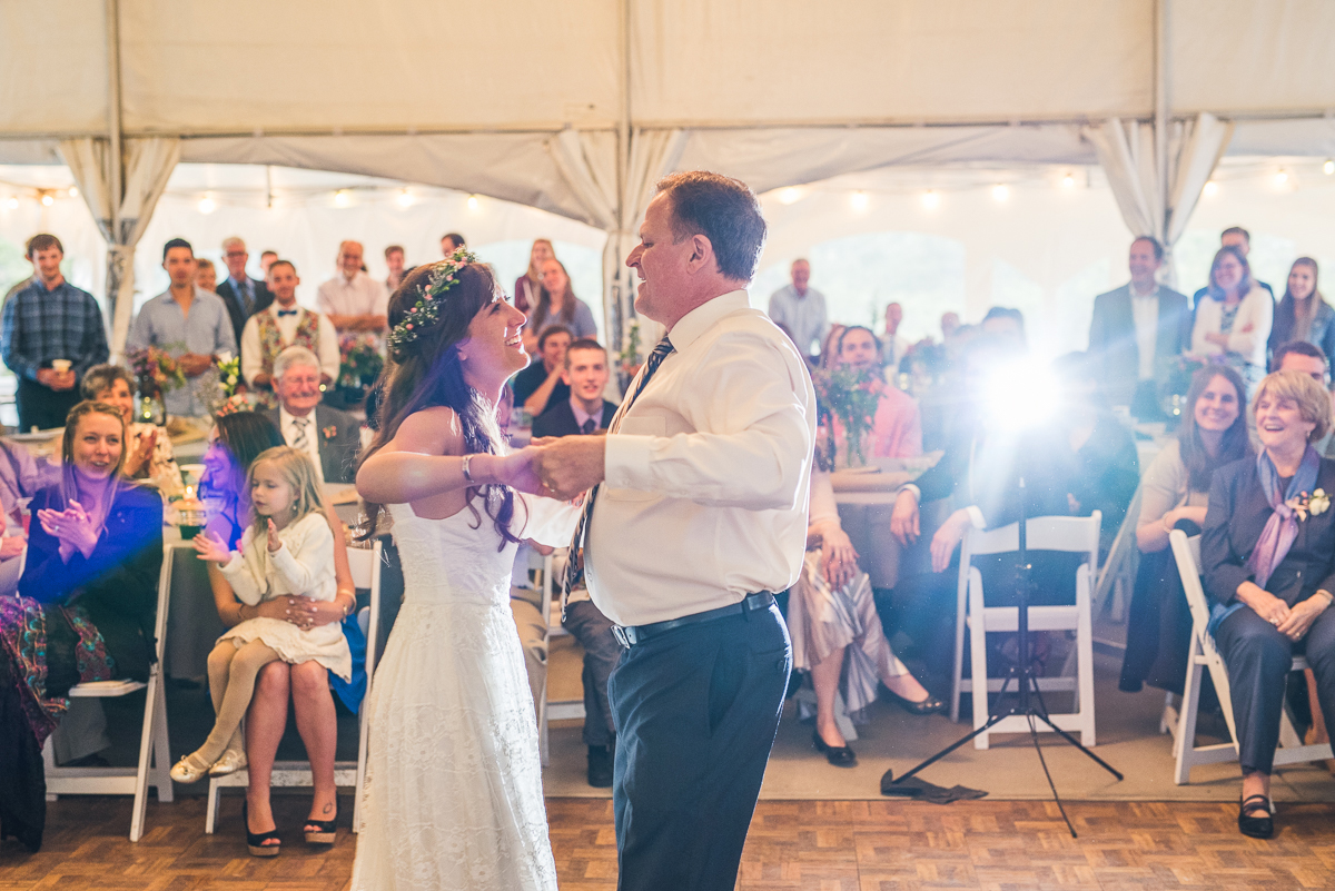 bride and father having a dance at wedding