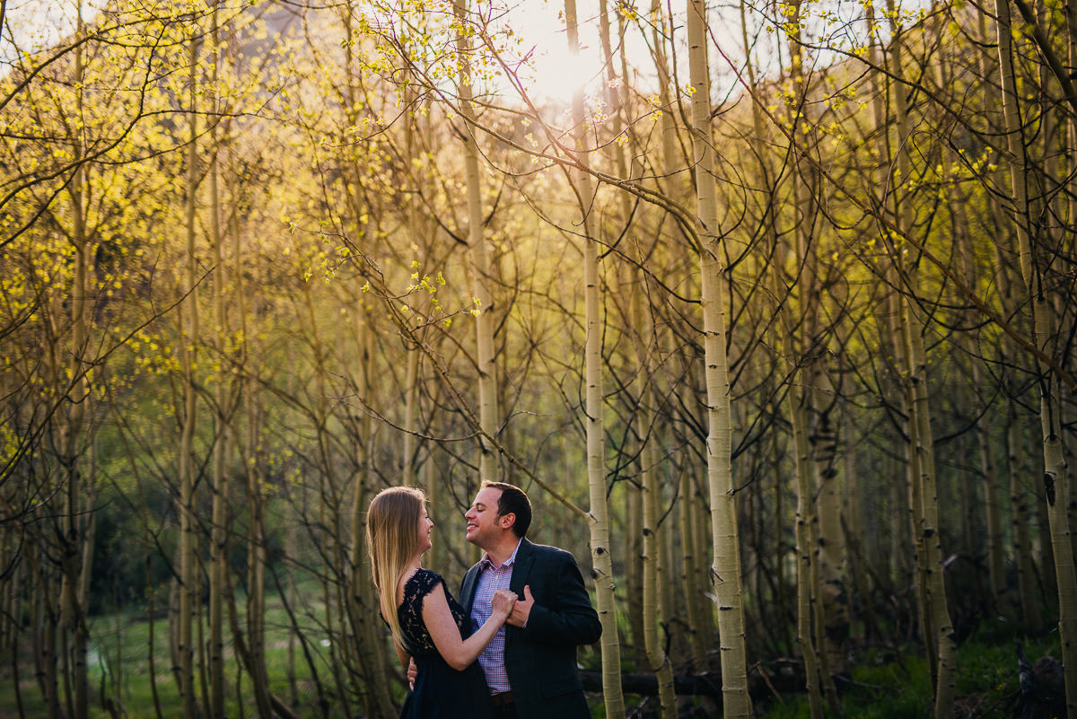 couple has engagement photos in aspen at the maroon bells