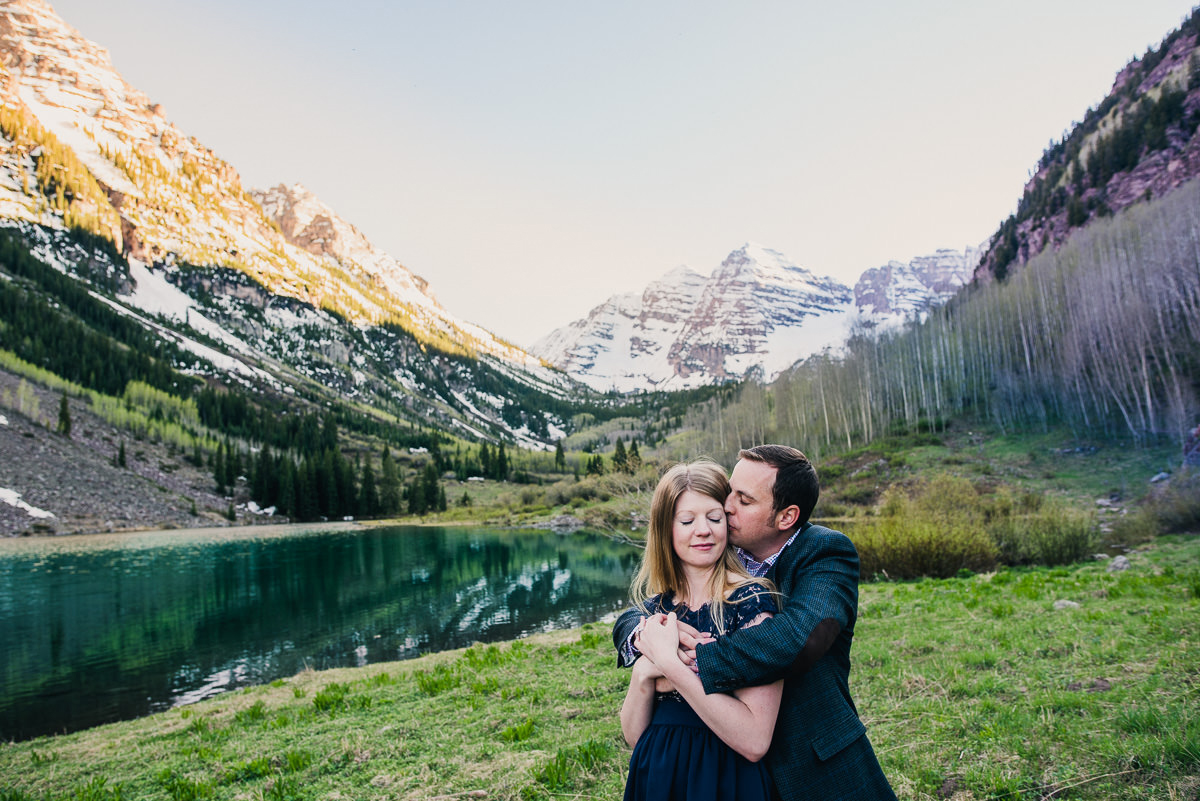 engagement photo at the maroon bells lake in Aspen