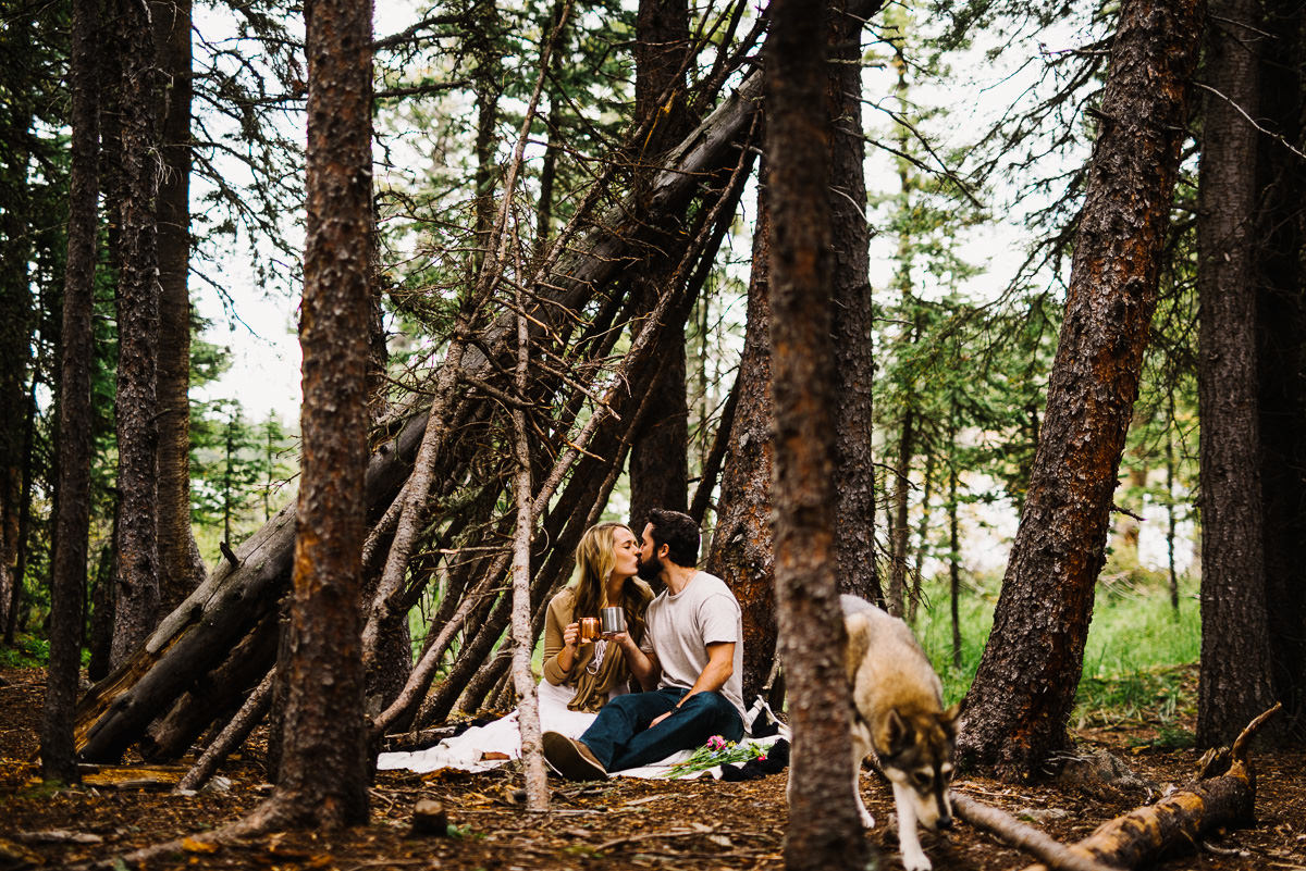 engagement session with a tree fort