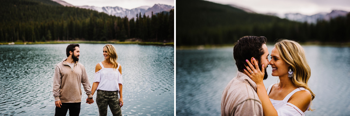 couple pose for engagement photos at echo lake