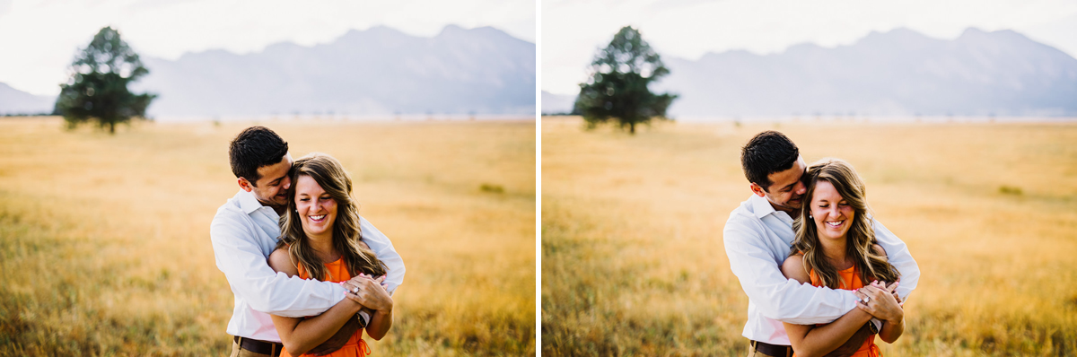 Engagement photos at Flatirons Vista Trailhead in boulder colorado