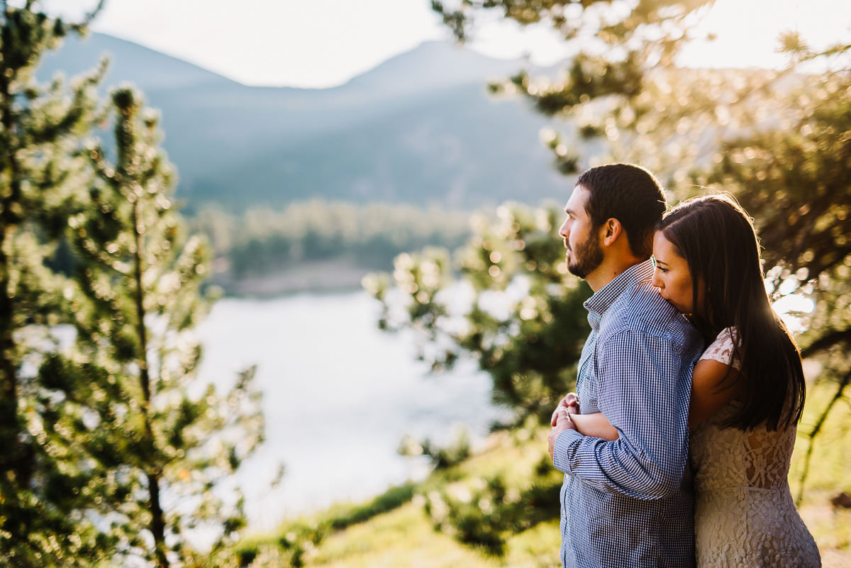 engagement photos overlooking lily lake