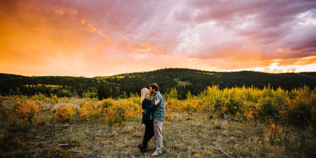 Sunset engagement photos in kenosha pass